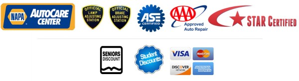 NAPA Autocare Center | Official Lamp Adjusting Station | Official Brake Adjusting Station | ASE Certified | AAA Approved Auto Repair | Star Certified | Senior Discount | Student Discount | Visa | Discover | Mastercard | American Express