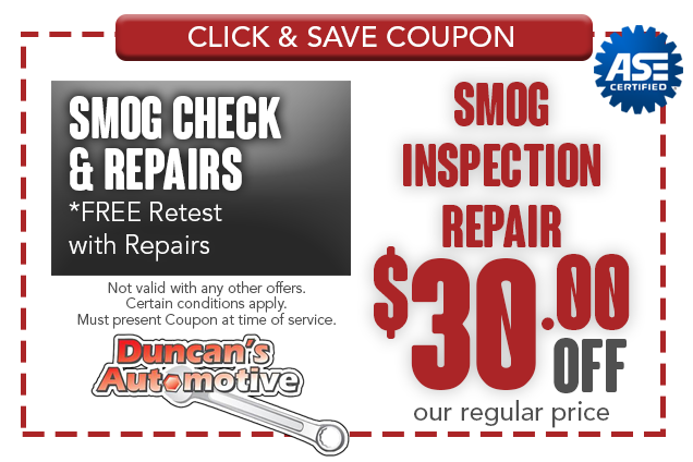 Smog Inspection Repair Coupon Citrus Heights - $30 OFF - smog check and repairs - Free retest with repairs